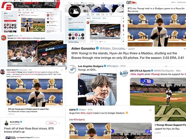 BTS nổi tiếng đình đám tại Mỹ đến mức chỉ một màn ghé thăm của Suga tới trận đấu bóng chày cũng xuất hiện dày đặc trên mạng xã hội và báo chí.