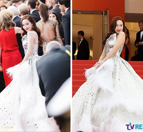 Ảnh fan chụp (bên trái) và ảnh thực tế của Jessica gây tranh cãi.