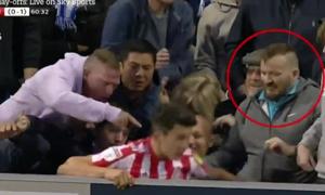 Cầu thủ Anh bị CĐV đối thủ đấm khi văng khỏi đường biên