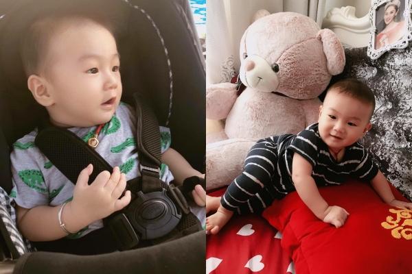 Vẻ đáng yêu của con trai Lâm Khánh Chi.