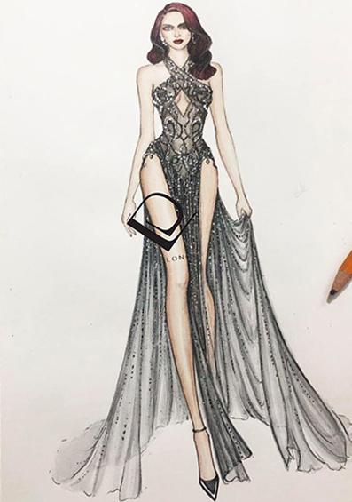 Bản phác thảo mẫu váy dành cho Ngọc Trinh.