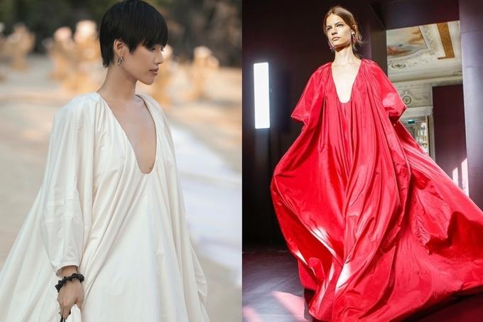 <p> Trừ màu sắc khác nhau, bộ váy của Khánh Linh giống nhiều chi tiết với sản phẩm cao cấp của nhà mốt Italy, từ phom dáng bồng bềnh đến phần cổ xẻ sâu.</p>