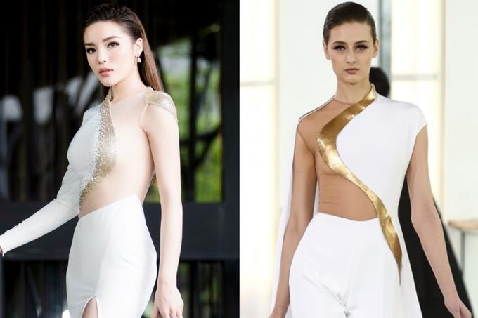 <p> Phần trên chiếc đầm Hoa hậu Kỳ Duyên diện vào tháng 4/2018 của NTK Đỗ Long có đường cắt xẻ tương đồng với một thiết kế trong BST Spring Summer Haute Couture 2015 của nhà mốt Pháp Stephane Rolland.</p>
