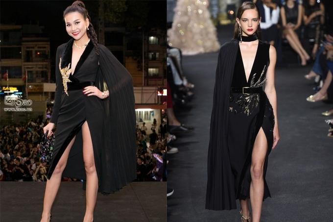<p> Trang phục Thanh Hằng mặc hồi tháng 1/2018, do Lê Thanh Hòa thiết kế bị nghi học hỏi ý tưởng từ Elie Saab trong BST Fall Winter Couture 2016.</p>