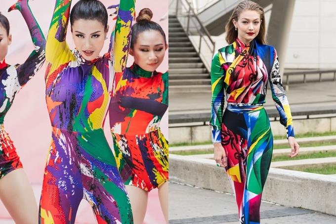 <p> Bộ jumpsuit ôm sát của NTK Kim Khanh được Đông Nhi diện trong MV Gọi em đi có ý tưởng khá giống với trang phục Versace mà Gigi Hadid từng diện.</p>