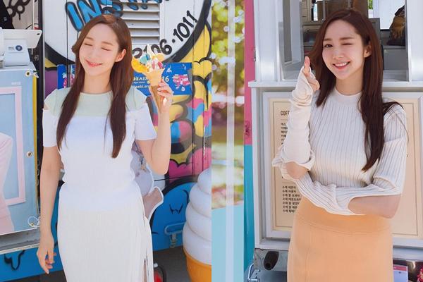 Park Min Young khoe xe cà phê và xe kem do Lee Seung Gi, Yoo Jae Suk gửi tặng tới trường quay Her Private Life.