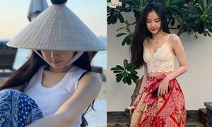 Na Eun đội nón lá, khoe dáng thon thả ở Đà Nẵng