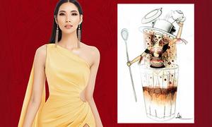 Cà phê phin sữa đá được mang lên quốc phục Miss Universe cho Hoàng Thùy
