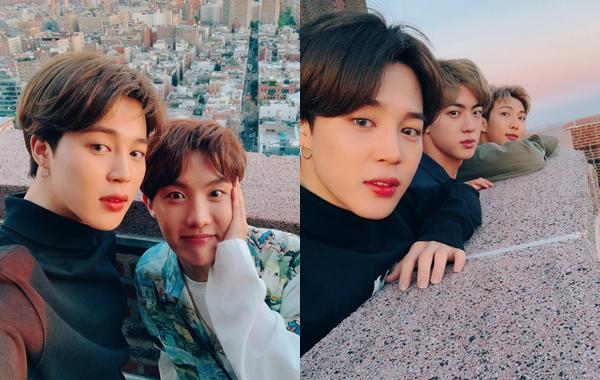 Ji Min chụp tự sướng cùng các thành viên BTS khi đi thăm thú thành phố New York.