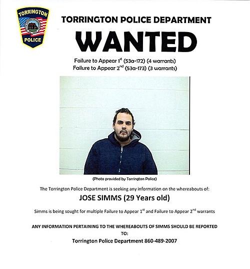 Truy nã của cảnh sát Torrington với nghi phạm Jose Simms.
