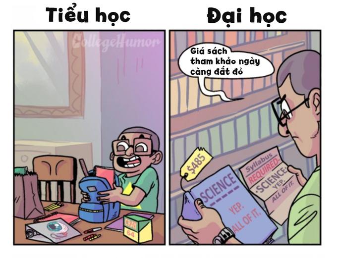 <p> Ngày còn nhỏ, mỗi lần đi học bạn phải chuẩn bị rất nhiều đồ dùng: sách vở, hộp bút, giấy màu... nhưng khi lên đại học những cuốn sách giáo khoa thông thường thay thế bằng giáo trình, bằng sách tham khảo đắt đỏ.</p>