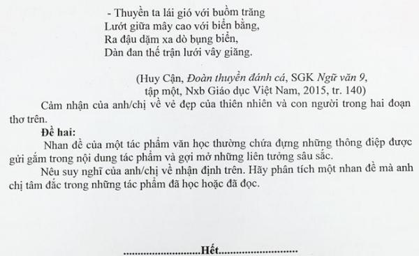 Đề thi môn Văn vào lớp 10 của trường Phổ thông Năng khiếu TP HCM. Ảnh: Mạnh Tùng.