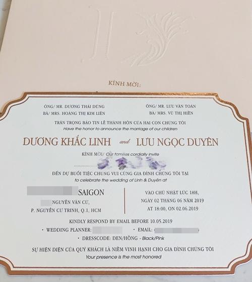 Thiệp cưới của Dương Khắc Linh - Sara Lưu.