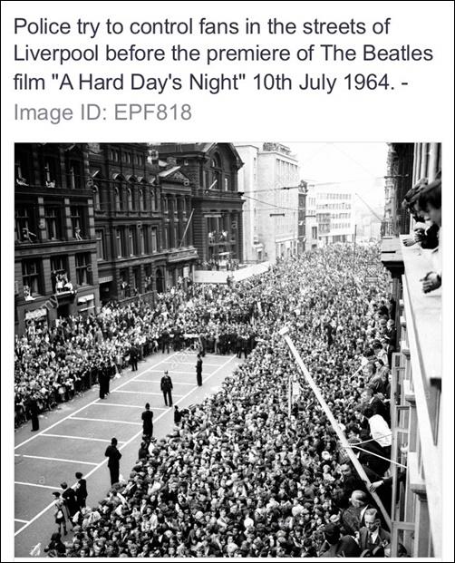 Cảnh sát cố gắng kiểm soát đám đông trước sự kiện công chiếu phim A Hard Days Night của The Beatles ngày 10/7/1964.