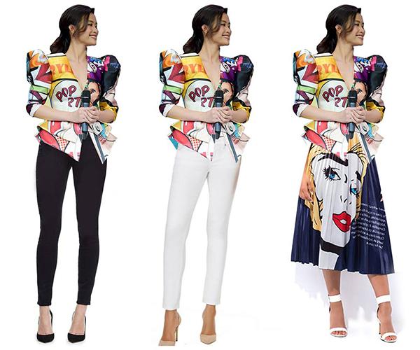 Nữ ca sĩ cũng có thể diện váy có độ xòe nhẹ dài quá gối, họa tiết popart để tạo nét hiện đại. An toàn hơn, quần skinny màu đen trắng cơ bản cũng là những phương án hợp lý hơn hẳn váy xòe bồng bềnh.