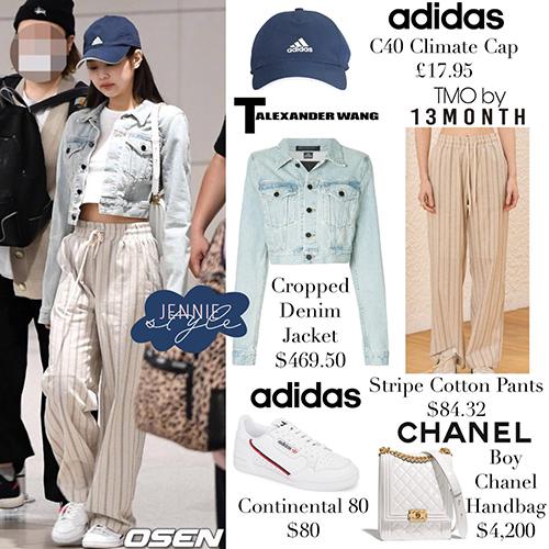 Jennie nổi tiếng là idol chuộng những trang phục hàng hiệu. Cô nàng tiêu tốn 4.800 USD cho set đồ sân bay.