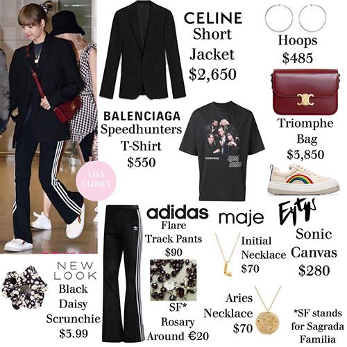 Nhiều fan bị sốc khi chứng kiến Lisa đầu tư 8.069 USDvào set đồ sân bay. Áo khoác Celine và túi xách Triomphe là những món đồ đắt đỏ nhất.