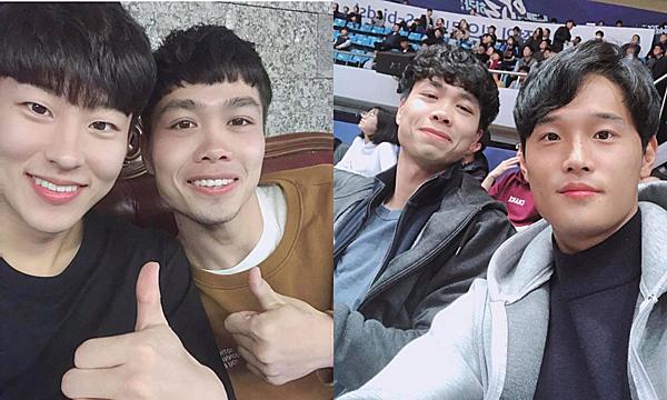 Công Phượng cùng hai người bạn thân  Lee Jeong-bin (trái) và Kim Jeong-ho (phải).