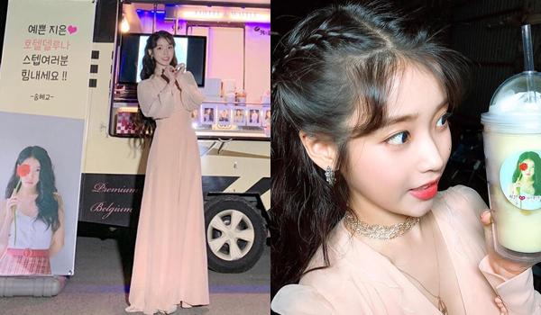 IU khoe xe đồ ăn thức uống do đàn chị Song Hye Kyo gửi tặng đến trường quay Hotel Del Luna.
