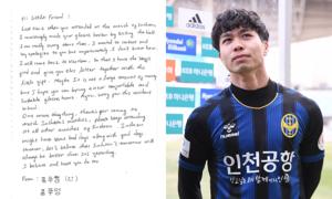 Sút bóng khiến fan nhí bị thương, Công Phượng viết thư tay xin lỗi