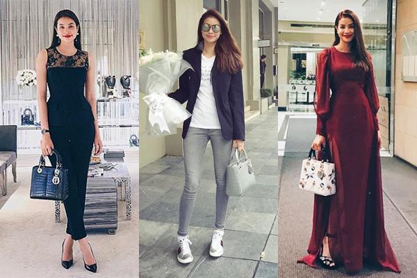 Người đẹp sắm rất nhiều Lady Dior với nhiều kiểu chất liệu, họa tiết khác biệt.