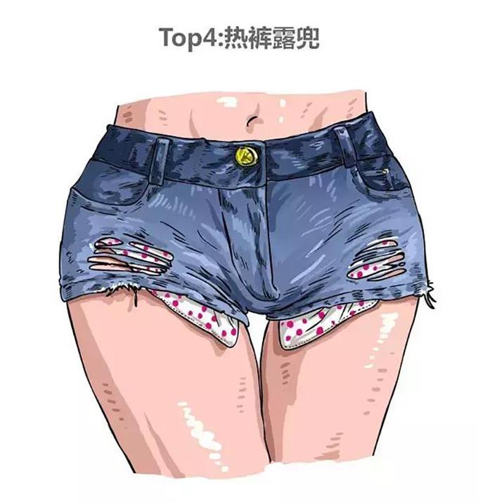<p> <strong>Kiểu 4: Mặc quần đùi quá ngắn + rách</strong></p> <p> Chẳng ai thích những cô nàng ăn mặc quá hở hang. Quần bò ngắn cũn cỡn lộ túi trong và rách lỗ chỗ trông kệch cỡm và kém duyên.</p>