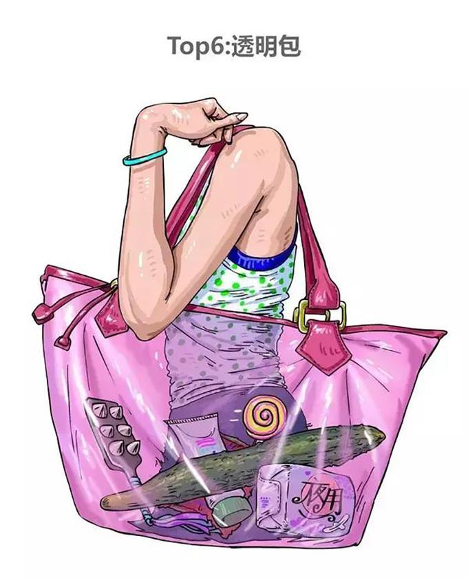 <p> <strong>Kiểu 6: Đeo túi trong suốt</strong></p> <p> Có một khoảng thời gian những chiếc túi trong suốt rất được ưa chuộng. Tuy nhiên nếu đã lựa chọn chiếc túi này, thì bạn nên dùng... túi ni-lông luôn cho tiết kiệm, bởi bạn đâu cần phải che giấu bất cứ điều gì.</p>
