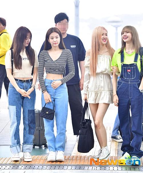 Sáng 6/6, Black Pink có mặt ở sân bay Incheon, lên đường sang Manila (Philippines) dự sự kiện.
