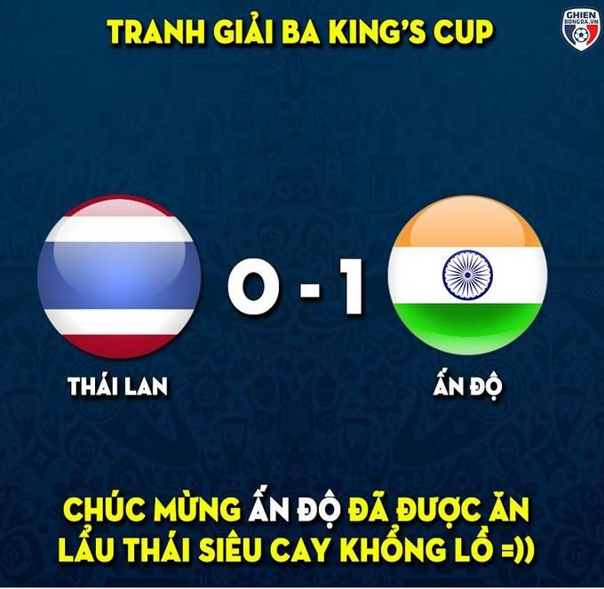 <p> Sau trận thua 0-1 tuyển Việt Nam, Thái Lan gặp Ấn Độ trong trận đấu tranh HCĐ và lại thua với tỷ số 0-1. Trước thềm mùa giải, Thái Lan tuyên bố sẽ là nhà vô địch nhưng kết quả lại về thứ 4 trong tổng số 4 đội tại King's Cup.</p>
