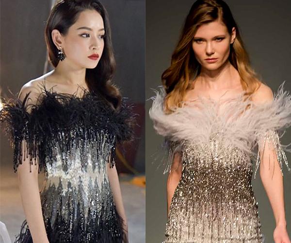 Chiếc váy Đỗ Long mà Chi Pu đang diện không chỉ giống thiết kế thuộc BST Thu Đông 2018 của Pamela Roland ở chi tiết tua rua ngang vai mà cách sắp xếp kim sa làm điểm nhấn ở eo cũng có điểm tương đồng.