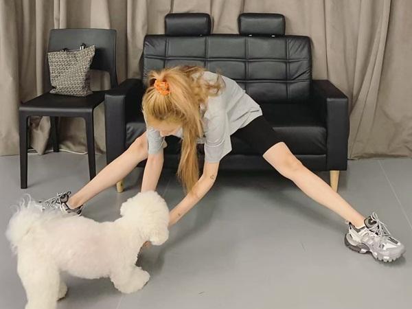 Hyuna vừa luyện xoạc chân vừa chơi đùa với cún cưng.