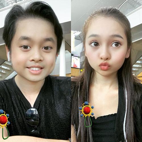 Duyên Sara và Dương Khắc Linh cùng trở về tuổi thơ bằng một app chụp hình điện thoại.