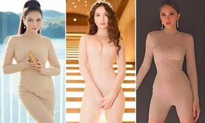 Trang phục màu nude trông như 'không mặc đồ' của mỹ nhân Việt