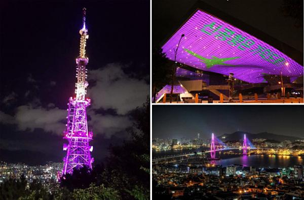 Các địa danh nổi tiếng tại Busan thắp ánh sáng màu tím chào đón BTS.