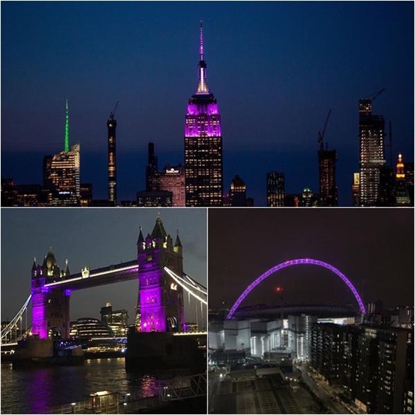 Trước đó, trong chuyến lưu diễn trời Tây của BTS, những địa danh nổi tiếng thế giới như Tòa Empire State (New York, Mỹ), cầu tháp London và sân vận động Wembley (Anh) cũng đã từng chiếu đèn tím để chào đón nhóm nhạc nam nổi tiếng nhất thế giới.