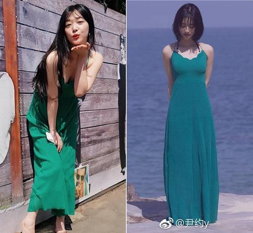 Cùng một chiếc váy nhưng Sulli mặc lại vô cùng quyến rũ, Thẩm Nguyệt mang lại cảm giác ngột ngạt, váy quá dài.