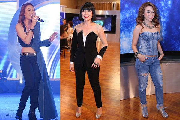 Nữ ca sĩ còn thường xuyên gây khó hiểu với những trang phục dị biệt nhưng không có yếu tố thẩm mỹ, vừa dìm vóc dáng lại khiến cô bị nghi đạo nhái.
