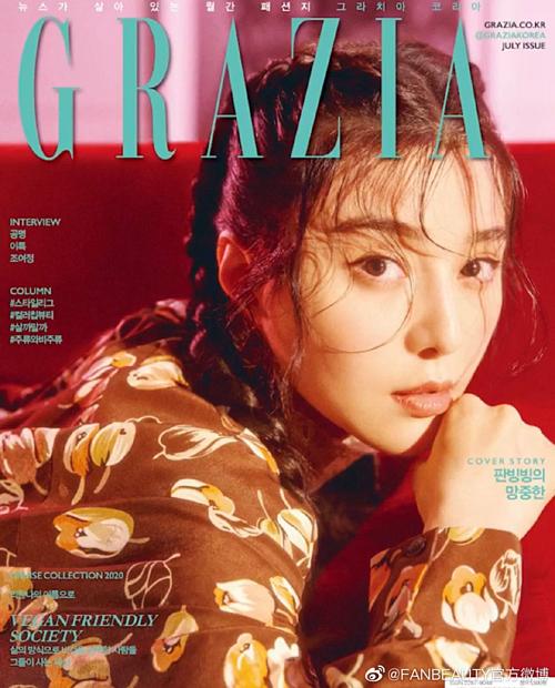 Phạm Băng Băng trở thành gương mặt trang bìa tạp chí Grazia số tháng 7. Trở lại showbiz sau scandal trốn thuế hồi năm ngoái, nữ diễn viênâm thầm làm việc, cũng ít xuất hiện công khai hơn.