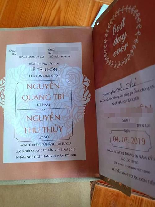 Tấm thiệp cưới được cho là của Thu Thủy và bạn trai.