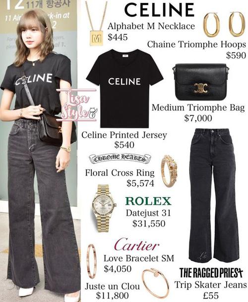 Nhiều fan bất ngờ khi biết giá trị bộ trang phục búp bê 9x đang khoác lên mình.Ngoại trừ chiếc áo thun đen với giá 540 USD ( hơn 12 triệu rưỡi) và chiếc quần dài đen ống rộng giá 55£ (hơn 1 triệu 6 trăm ngàn) thì chiếc đồng hồ Rolex của Lisa đã có giá hơn 31 ngàn USD (tương đương hơn 700 triệu đồng). Chưa kể một số món đồ đơn giản như chiếc túi xách của nhãn hiệu Medium Triomphe cũng có giá 7.000 USD (tương đương hơn 162 triệu đồng), hay bộ vòng tay của Cartier cũng đã sương sương gần 350 triệu đồng.