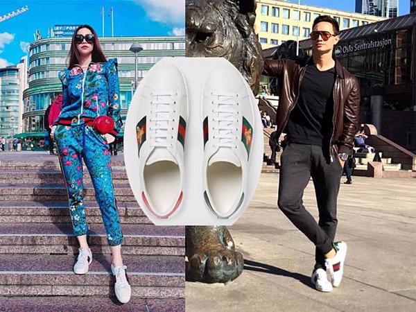 Hai ngôi sao sành điệu cùng sắm một mẫu giày sneakers của Gucci.