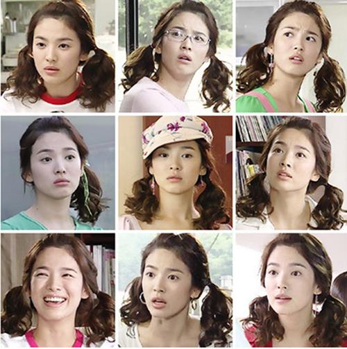 Bên cạnh những bộ trang phục với phong cách đặc sắc, Han Ji Eun còn lăng xê thành công những kiểu tóc thể hiện tính cách đáng yêu, nổi bật trong số đó là tóc xoăn buộc hai bên hoặc buộc lệch một bên.