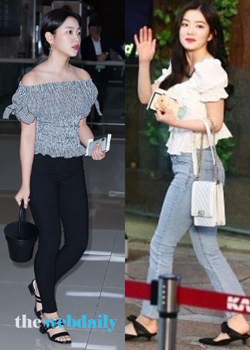 Những phom giày đế thấp luôn phủ sóng trong thời trang sân bay của Red Velvet. Tuy nhiên kiểu giày này dễ mang đến cảm giác già dặn.