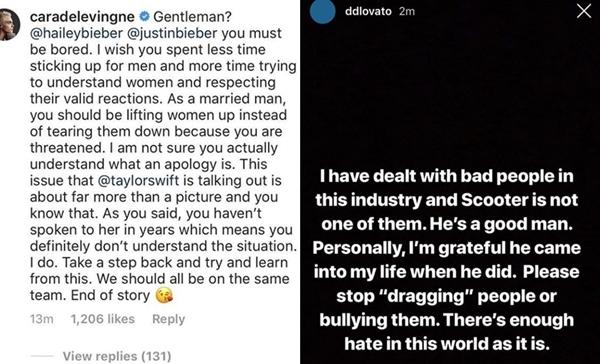 Cara Delevinge chỉ trích Hailey - Justin, đứng về phía Taylor. Trong khi đó, Demi Lovato công khai ủng hộScooter.