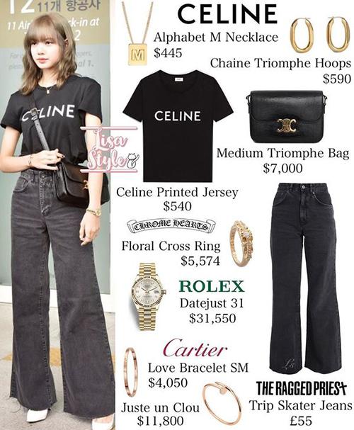 Trang phục của cô nàng gồm nhiều món đồ đến từ nhà mốt Celine. Dù chỉ là áo phông kết hợp quần jeans nhưng tổng cộng bộ cánh cũng lên tới hơn 1 tỷ đồng.