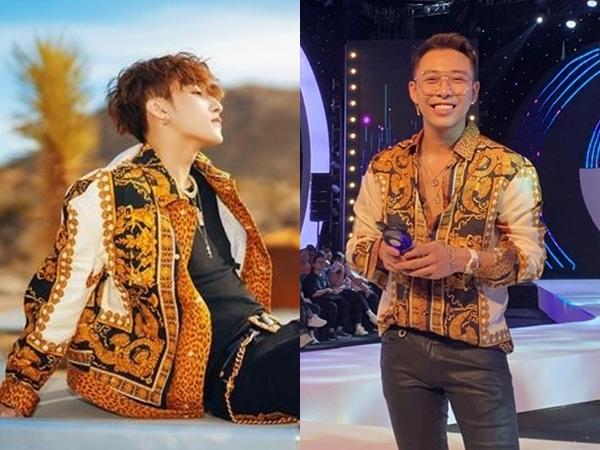 Cả Sơn Tùng và Hoàng Ku đều lựa chọn mẫu áo hoa văn baroque kết hợp cùng họa tiết da beo của Versace. Tuy nhiên, giọng ca Lạc trôi chọn áo khoác còn stylist 8x chọn áosơ mi.