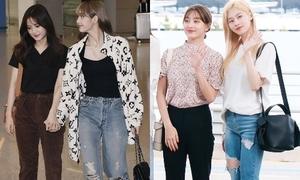 Idol Hàn cool ngầu khi ra sân bay với quần jeans rách