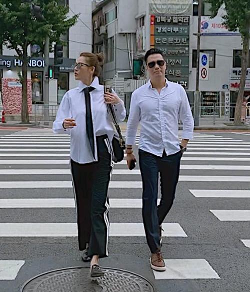 Việt Anh mặc đồ đôi, đi dạo Seoul với Quế Vân sau khi công khai sang đây chỉnh sửa nhan sắc.