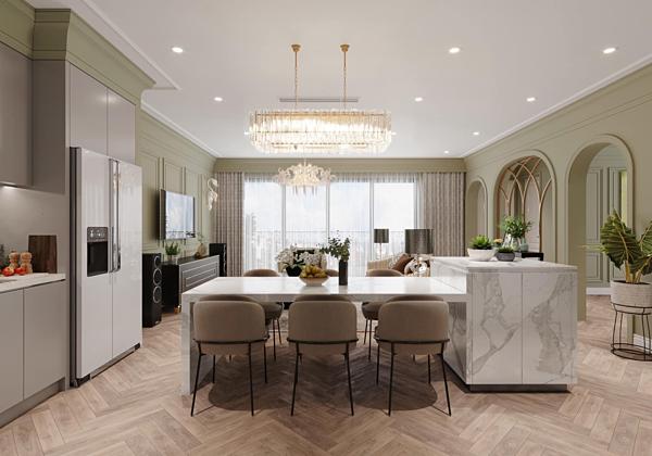 Phòng khách thiết kế thông với phòng bếp, tạo không gian rộng rãi.