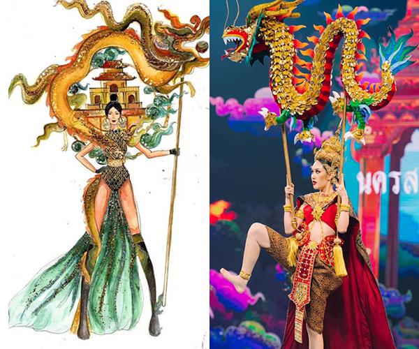 Tuy nhiên cũng không ít ý kiến cho rằng Miss Grand Thailand nổi tiếng với những bộ trang phục dân tộc hoành tráng và phá cách, những ý tưởng bản vẽ Việt cũng không quá mới nên có thể xảy ra việc đụng độ. Bên cạnh đó, văn hóa các nước Đông Nam Á có nhiều sự tương đồng nên sự xuất hiện của những hình ảnh quen thuộc như con rồng, con trâu, con cò, đồng lúa, hoa sen... là điều dễ hiểu.